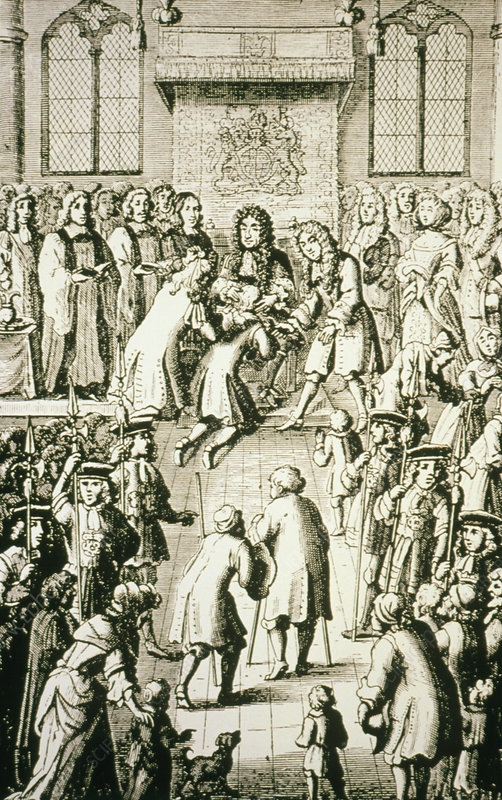 Charles II touching patients to cure Kings evil