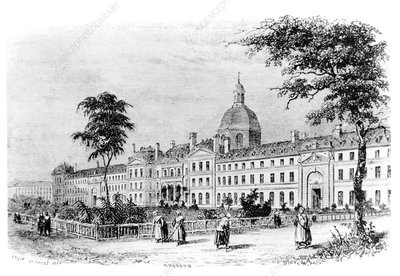 Engraving of Salpetriere Hospital, Paris, France