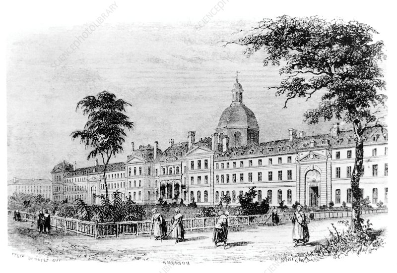 Engraving of Salpetriere Hospital, Paris, France