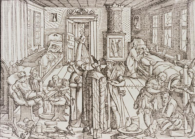 Woodcut title page, 1565, ward scene.