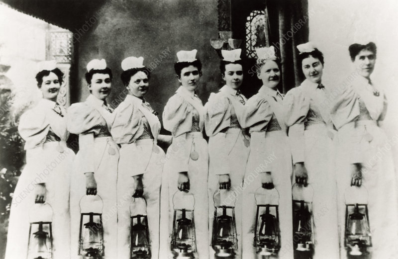 Nurses with lamps ready for night rounds, 1899.