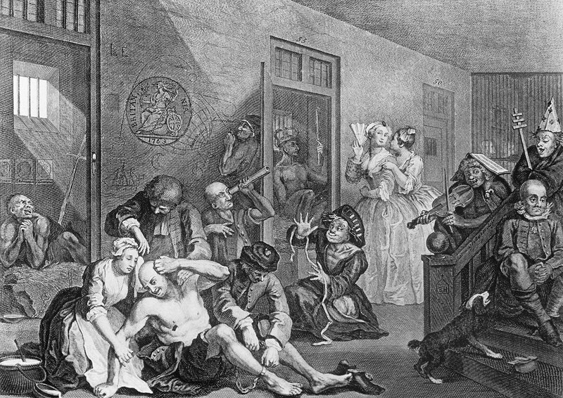 Bedlam, engraving by Hogarth - 8 in Rakes Progress