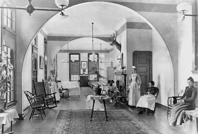 Interior of a women's ward at a mental hospital