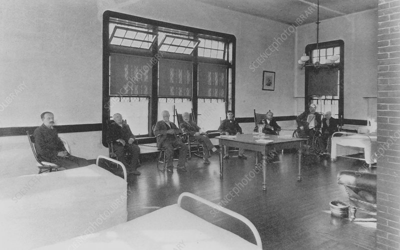 Interior of the men's ward at a mental hospital