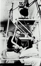 Mental patient wearing respirator in a shock unit