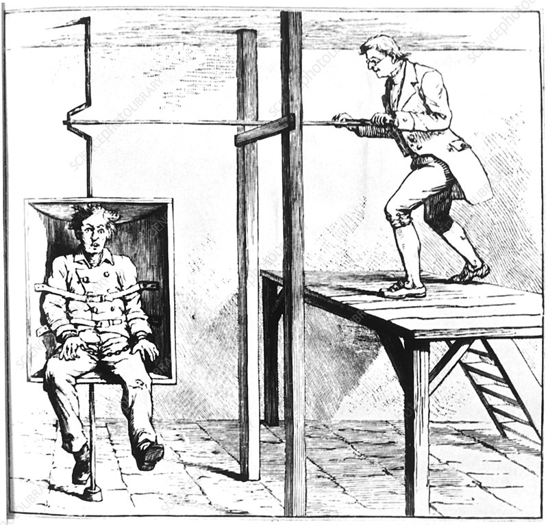 Mental patient being treated in a gyrating chair