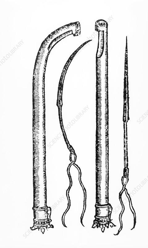 16th century suturing equipment of Ambroise Pare
