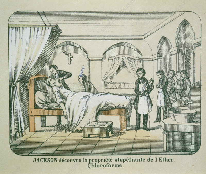 Illustration of Jackson using ether as anaesthetic