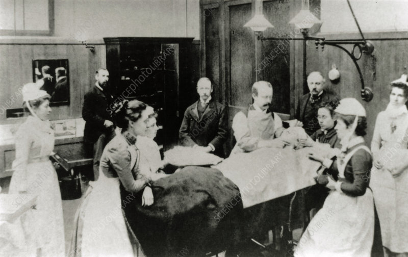 Women medical students in operating theatre, 1880s