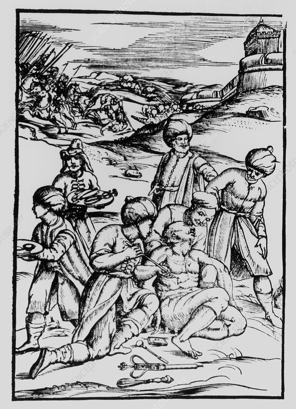 Engraving of a wounded soldier being treated
