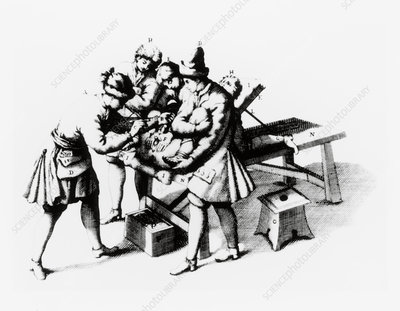 Engraving of a lithotomy operation being performed