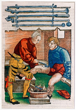 Wound cauterisation, 16th century