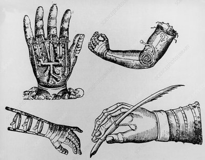 Selection of 16th century artificial arms & hands.