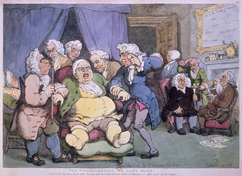 Cartoon by Rowlandson, 1808, of medical practice.
