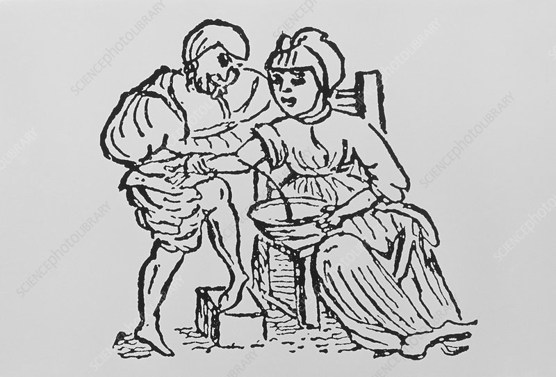 Woodcut showing woman being bled by a doctor