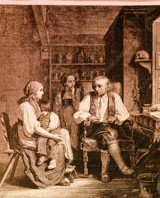 Engraving of village doctor with mother and child