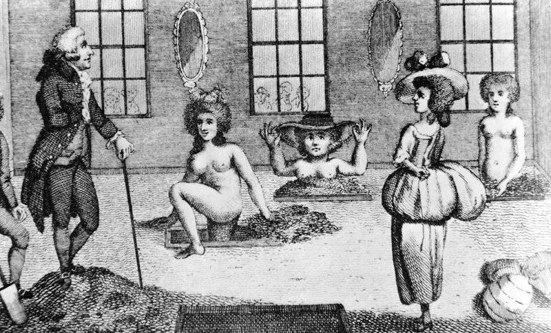 Engraving of women taking mud baths