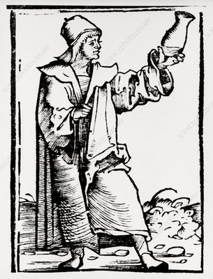 Engraving of a medieval doctor examining urine