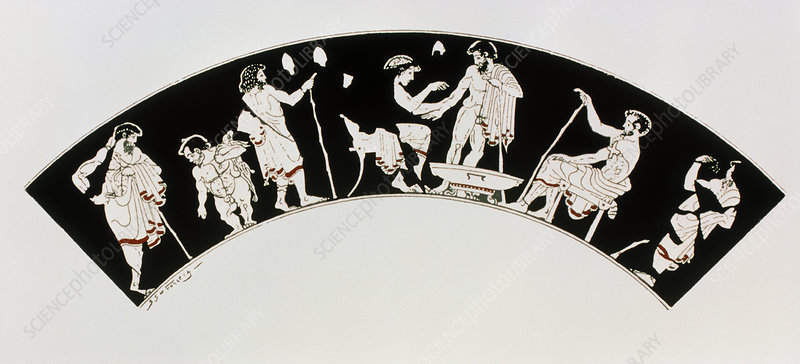 Coloured vase painting of an ancient Greek clinic