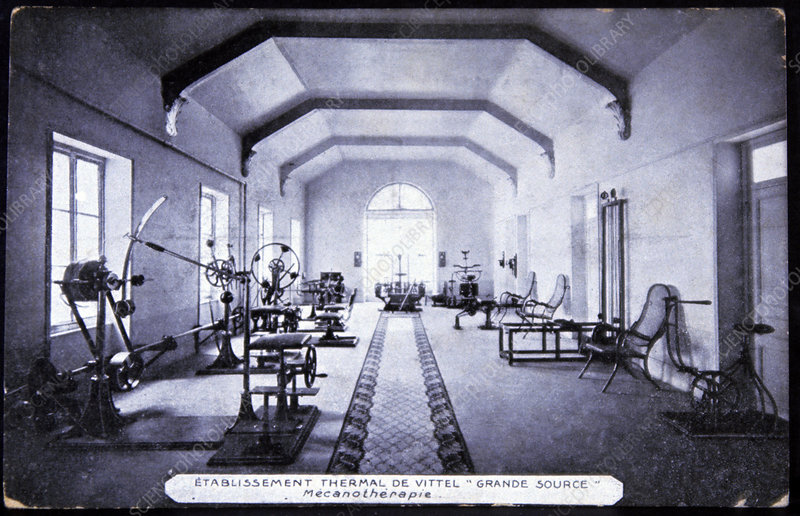 Exercise room at a spa, 1910
