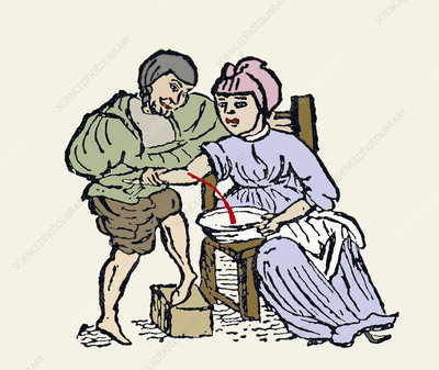 Bloodletting, 12th century artwork