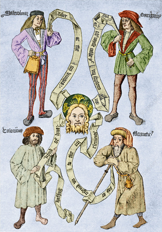The four humours, 16th century artwork