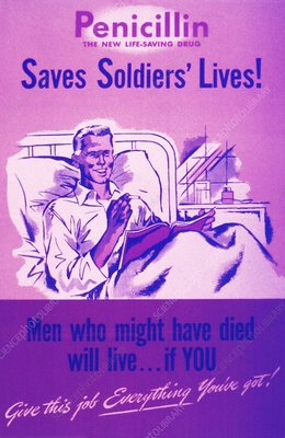 Penicillin use, second world war poster