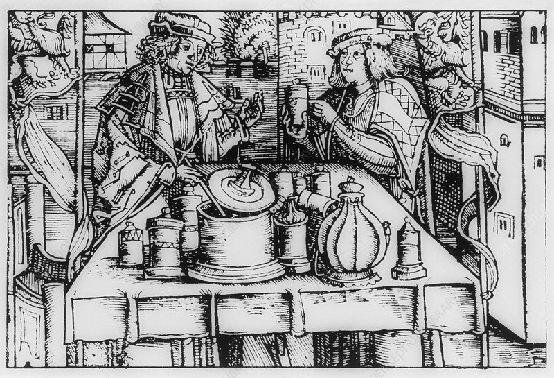 Engraving of mediaeval preparation of 'theriac'