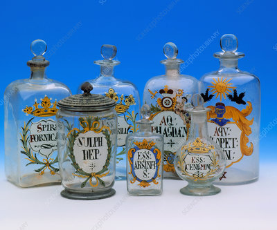 Historical glassware for drugs, herbs and oils