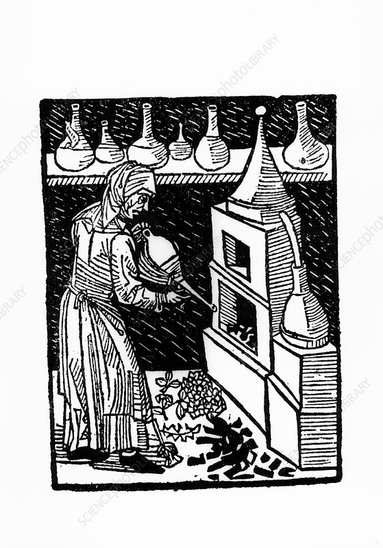 Woodcut of a still used to make medicinal spirits