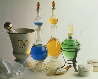 View of historical apothecary medicine bottles