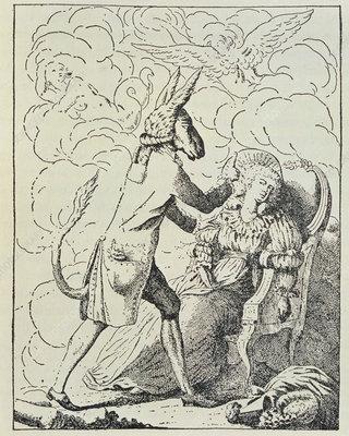 Animal magnetism caricature: ass mesmerising woman