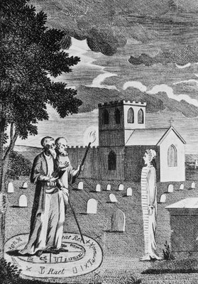 Edward Kelly interrogating a dead person's spirit