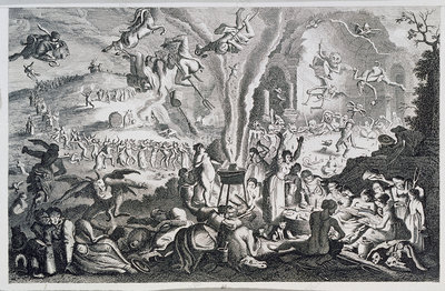 19th century engraving of a witches sabbath