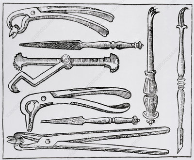Dental instruments from the 17th century.