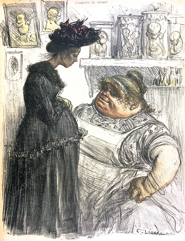 Caricature of an abortionist with a pregnant woman