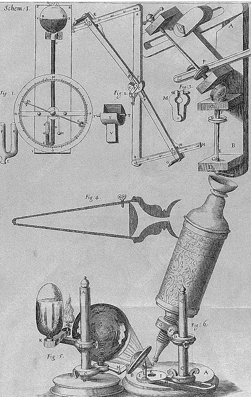 Hooke's microscope and equipment, 1665