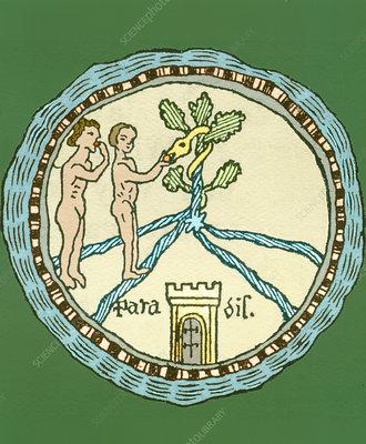 Artwork of Adam and Eve in the Garden of Eden