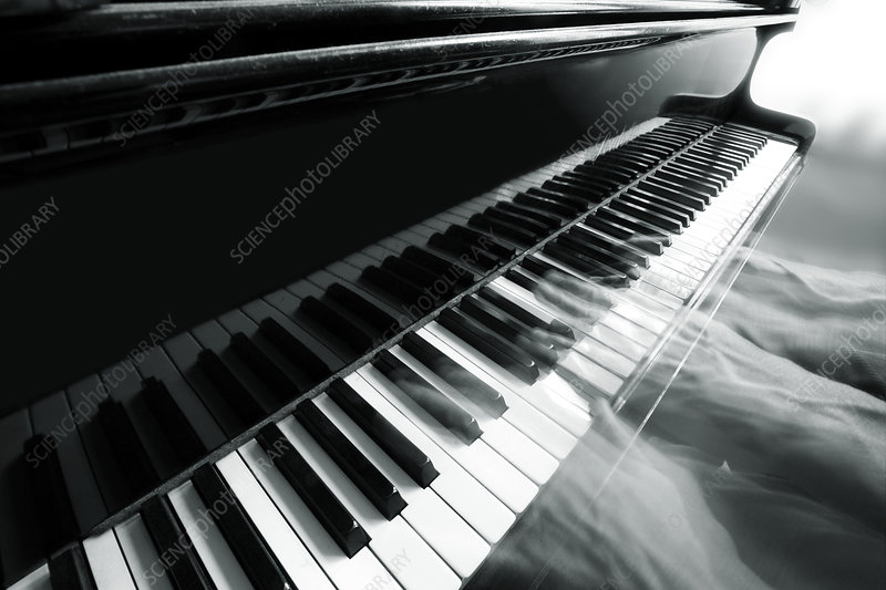 Piano playing, composite image