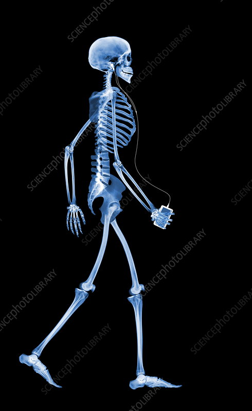 Skeleton with an iPod
