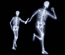 Relay runners, X-ray artwork