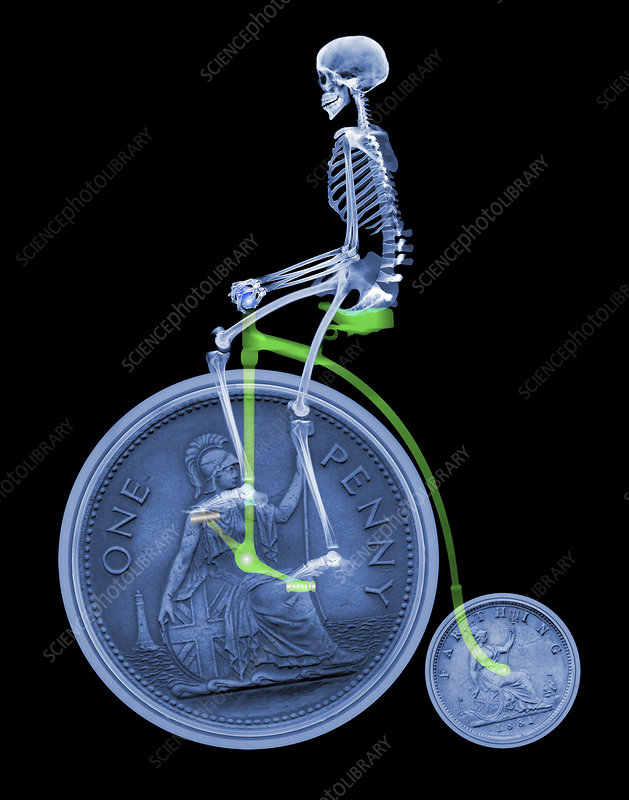 Skeleton on a penny farthing