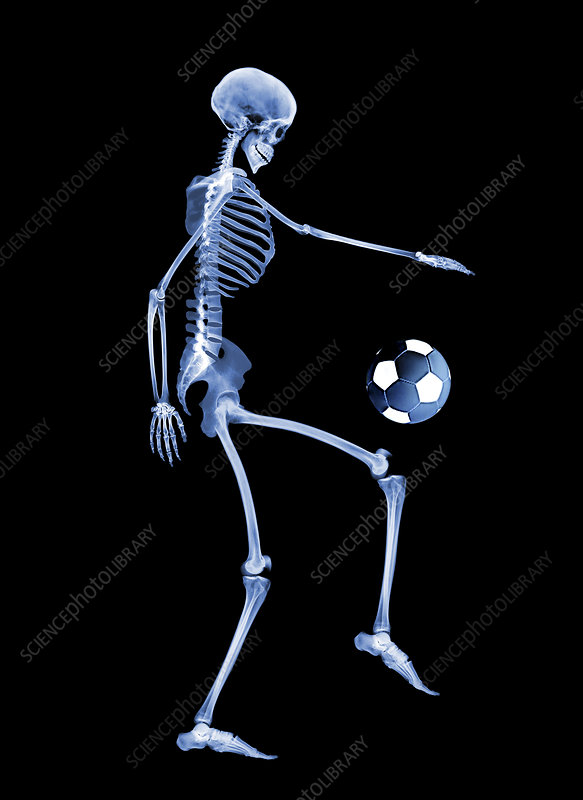 Skeleton playing football
