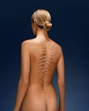 Woman's back, composite image