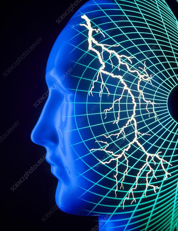 Abstract lightning flash inside human head