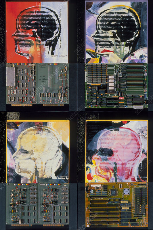 Art of 4 MRI brain scans & computer circuit boards
