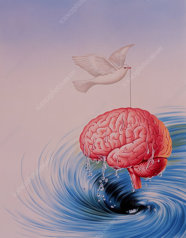 Abstract artwork of brain lifted out of whirlpool