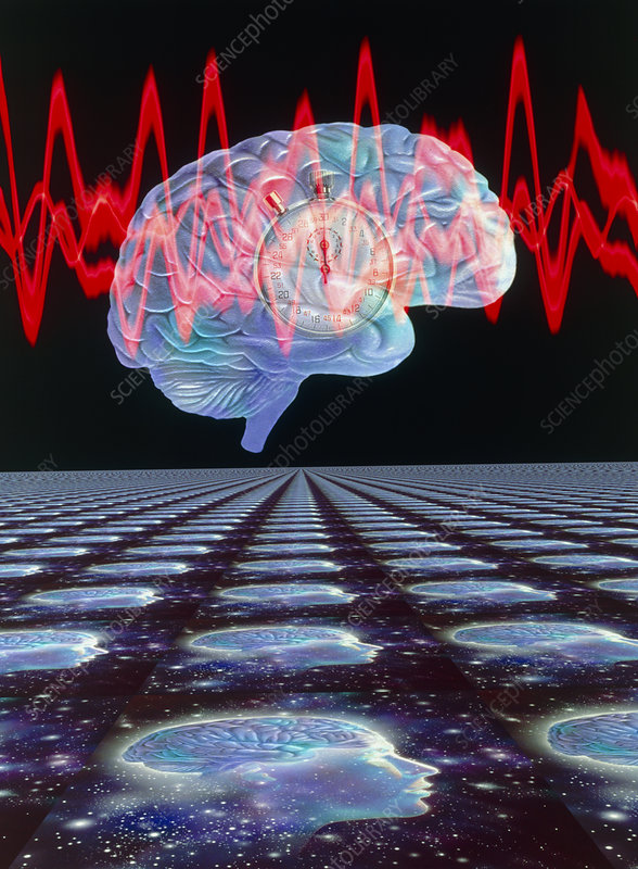 Abstract artwork of human brain & EEG brainwaves