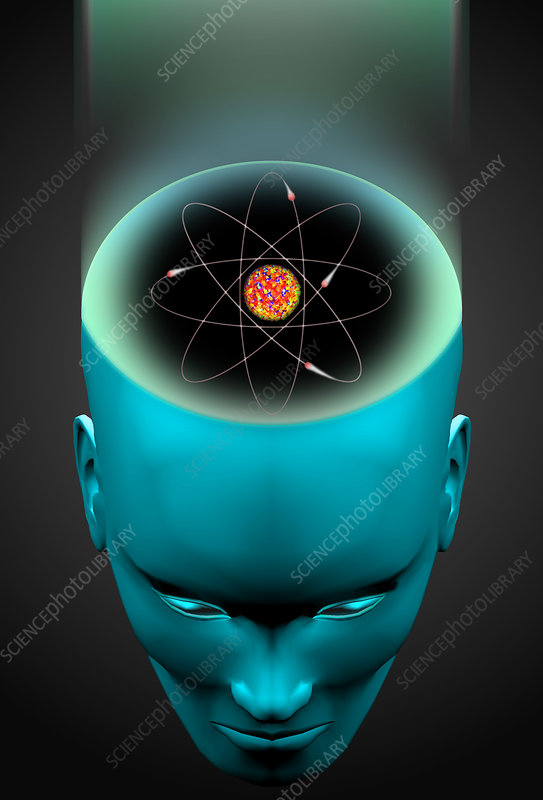 Atom brain graphic