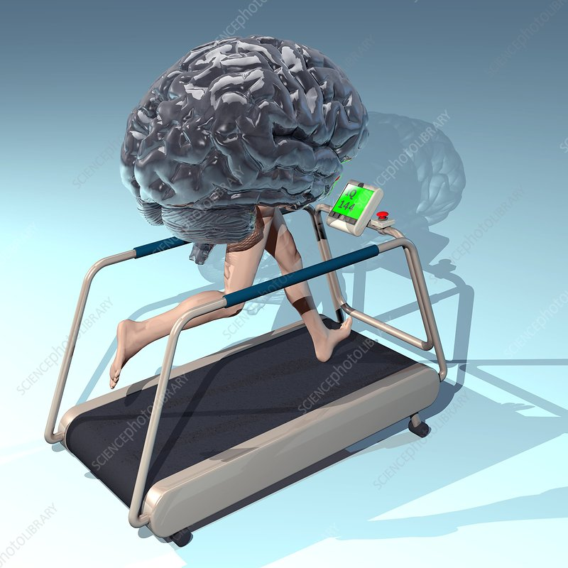 Running brain, conceptual artwork
